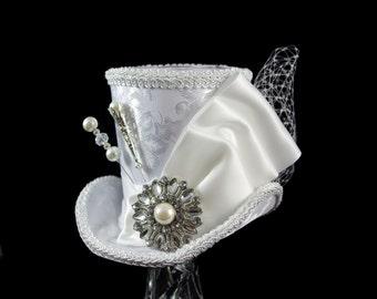 White on White Wedding Large Mini Top Hat Fascinator, Alice in Wonderland, Mad Hatter Tea Party, Derby Hat