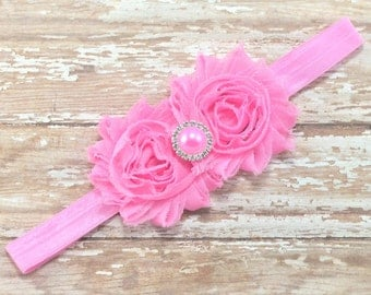Pink Flower Headband, Light Pink Headband, Pink Flower Girl Headband, Wedding Headband, Newborn Headband, Pink Headband, Pink Hair Bow