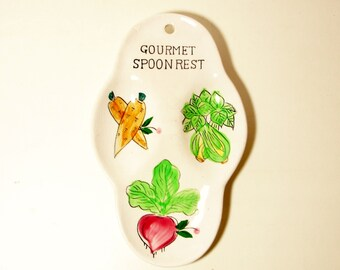 Handcrafted Ceramic Gourmet Spoon Rest with Hand Painted Vegetables-Made in Japan