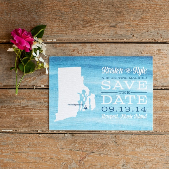 Watercolor Save the Date, Rustic Save the Date - The Open Sea - save the date postcard, waves, nautical wedding, typography, watercolor blue