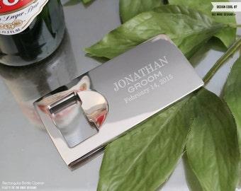 Personalized Bottle Opener Groomsmen Gift - (One) Custom Engraved Rectangular Bottle Opener - Wedding Favor - Wedding Gift - Mens Birthday