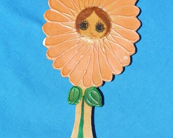 Vintage Painted Hand Mirror Flower Girl