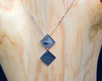 Sterling Silver Squares Pendant with Contrasting Hammered and High Polish Textures