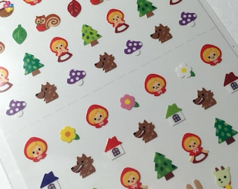 Kawaii Little Red Riding Hood Tiny Planner Stickers - Cute from Japan