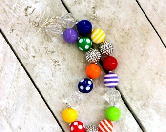 Rainbow girls necklace. Birthday necklace for baby or toddler girl. Chunky bead bubblegum beaded necklace.