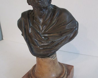 Antique Bronze Bust/Philosopher/Holy Man/Prophet on Marble Base