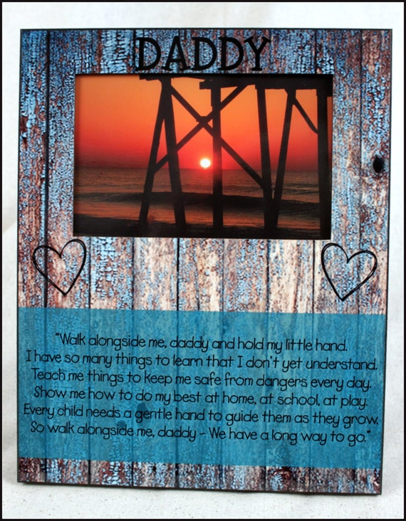 Unique Christmas Gifts for Dad Custom Photo Frame Picture Frame Rustic Wood Look Christmas Custom Designed Photo Frame 8 x 10 w/ 4 x 6