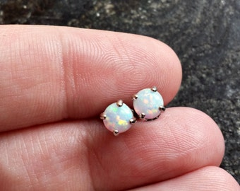 Pair of White Fire Opal (5mm) Stone Earrings 316L Surgical Steel Post Studs