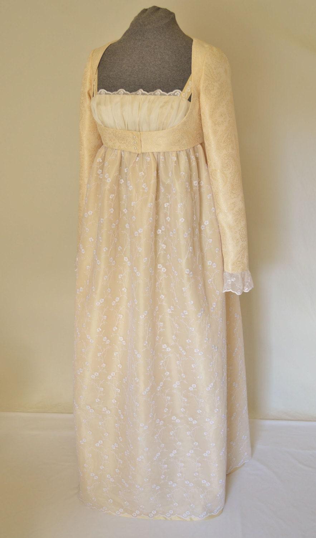 Regency dress jane austin or wedding dress with crop jacket for Regency style wedding dress