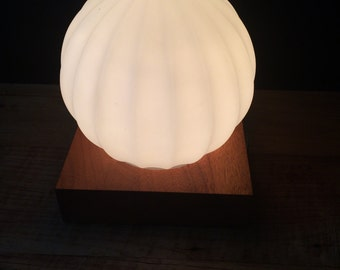 Vintage Mid Century Ribbed Glass Orb Wood Block Lamp
