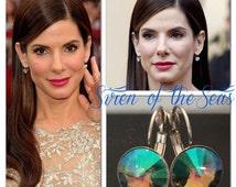 Crystal Paradise Shine Celebrity Swarovski Rivoli Crystal Leverback French Clip Earrings Wedding Jewelry, Bride, - il_214x170.787672021_rzh2
