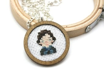 Sherlock cross stitch necklace - Hand Embroidered Necklace - Sherlock Holmes cross stitch necklace