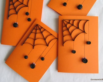 Halloween Card Set, Quilled Black Spider Web Card, Set of 6 Blank cards