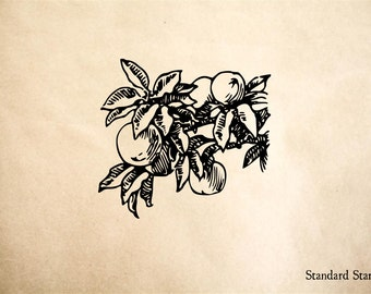 Peaches on Branch Rubber Stamp - 2 x 2 inches