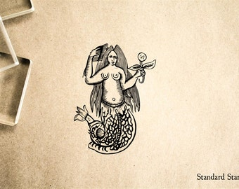 Fat Mermaid Rubber Stamp - 2 x 2 inches