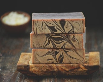 Frankincense + Myrrh Soap | Cold Process Soap Bar, Vegan Homemade Soap, Artisan Soap, Brown Soap, Soap Gift, Incense Scented Soap, Handmade