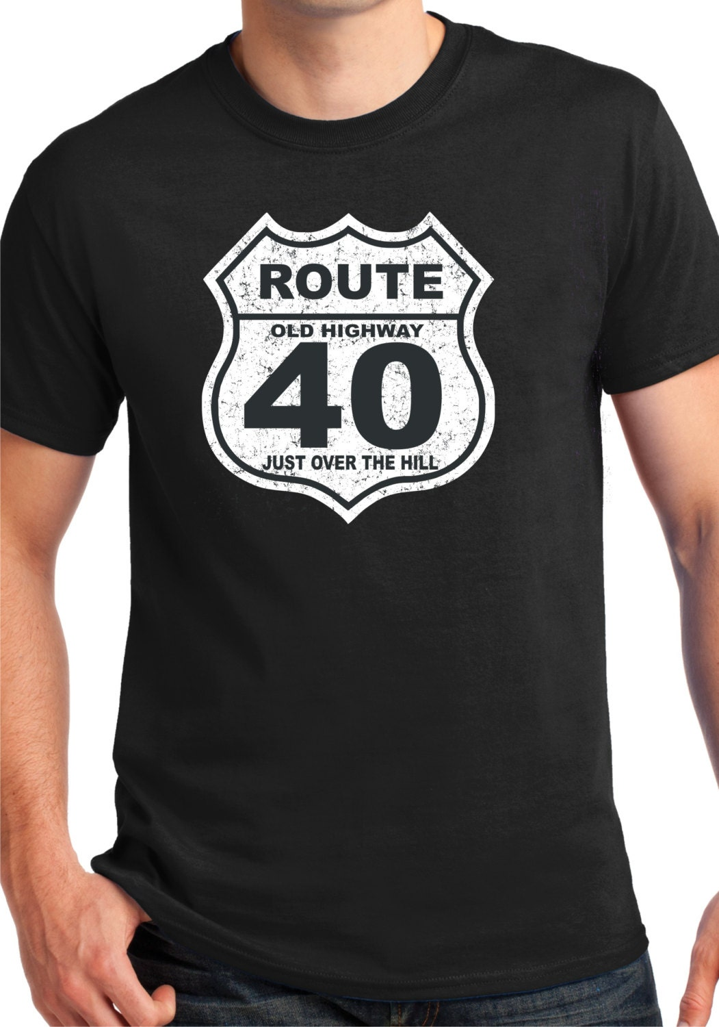 40th birthday gift 40 years old over the hillshirtt shirt. Black Bedroom Furniture Sets. Home Design Ideas