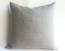 One European Linen Solid Rustic Grey Beige Decorative Zipper Pillow Cover Oatmeal Linen Greige Linen Cushion Cover: 12 Sizes Available-UODY