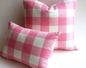 Strawberries and Cream Buffalo Check Plaid Zipper Pillow cover 18x18 inch pillow Pink Pillow Cover Buffalo Plaid Euro Sham-BXRG