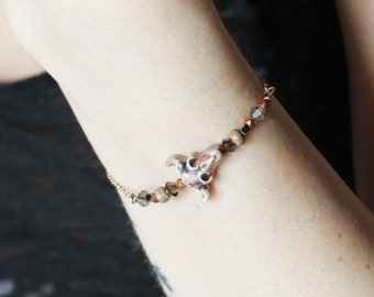 Desert Dream . swarovski & buffalo skull bracelet with rose gold plated pagan boho jewelry .