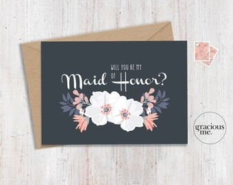 Maid of Honor Card 'Will You Be My Maid of Honor' - Wedding Card, Calligraphy - Blue