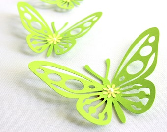 3D Butterfly Wall Art for Nursery - Girls Room decor - Butterfly wall decor - 3d butterfly - Green decor - Nursery decor - Nature wall art