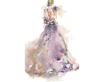 Print - Elie Saab Spring Summer 2011 Haute Couture - watercolor illustration
