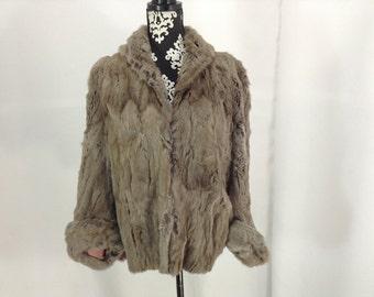 Vintage Grey Rabbit Fur Stole/ Jacket/ Cape