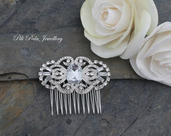 Auralia Diamante and Crystal Art Deco. Gatsby Inspired Hair Comb.