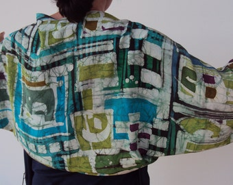 Painted silk shrug