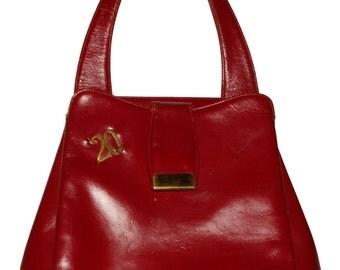 1940s Womens Red Leather Mailbag Monogrammed Jana Purse Vintage Retro Handbag