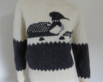 Cute Novelty Print Vintage Wool Jumper / Sweater / Small / Retro / Ducks