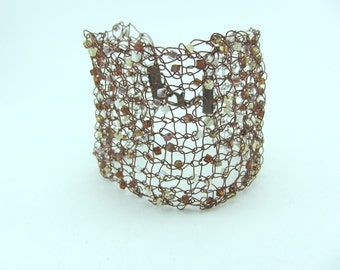 Bronze beaded knitted wire cuff, Hand knitted bracelet, Jewellery