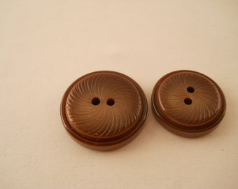BUTTONS:  Buttons, brown, vintage, two sizes in set, set of 13 buttons.