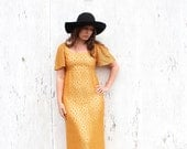 Vintage 60s Lace Maxi Gown - 60s Mod Hippie Gold Lace Duster Cocktail Dress - 60s Metallic Gold Lace Empire Waist Maxi Gown - 60s Prom Dress