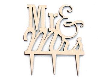 Mr. & Mrs. Wood Cake Topper