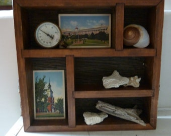 Vintage wood display shelf Rustic farmhouse modern country wall shelf for collections and treasure
