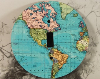 Round Map Light Switch Cover - Blue Maps The Americas - Single Toggle