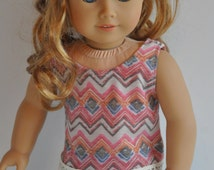 Pink Blue and Cream Chevron Print Tank Top with Lace Trim     18 Inch Doll Clothes