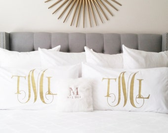 Pillow Case - White Standard Queen King Monogrammed Pillow Case