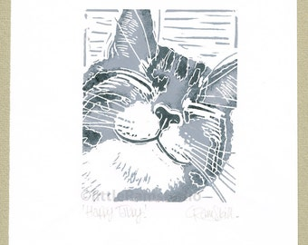 Happy Grey Tabby Cat - Original Linocut Print