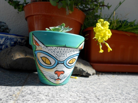 cute nerd cat planter