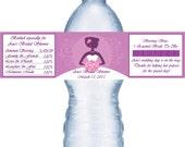 21 Purple Bridal Shower Water Bottle Labels