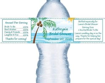 21 Beach Water Bottle Labels