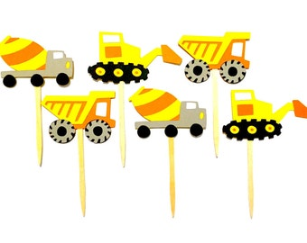 Set of 12 Construction Cupcake Toppers / Construction Truck Cupcake Toppers Boy Cupcake Topper Baby Shower Cupcake Toppers Paper Party Pick