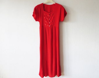 Vintage 80s 90s Hot Red Dress Crincled Button up Short Sleeve Tied at the back Marching Band Style Dress Summer Maxi Dress