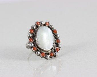 Sterling Silver Zuni Coral Mother of Pearl Halo Ring Size 7 1/2