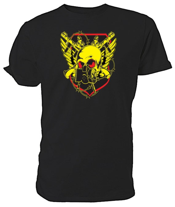 War Skull T shirt. classic round neck short sleeved choice of sizes and colours
