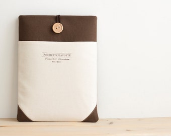 "13 inch Macbook Pro, Retina, Air case, 13"" Surface Book, Custom Laptop Laptop sleeve /  Brown Ivory pocket"