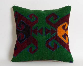 Kilim Pillow Cover - Ethnic Home Decor Handwoven Wool Turkish Kilim Embroidery Pillows Green Orange Wine Red 16x16 inch - Vintage Home Decor